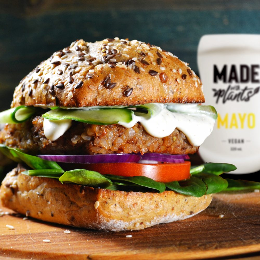 Made With Plants burger with vegan mayo